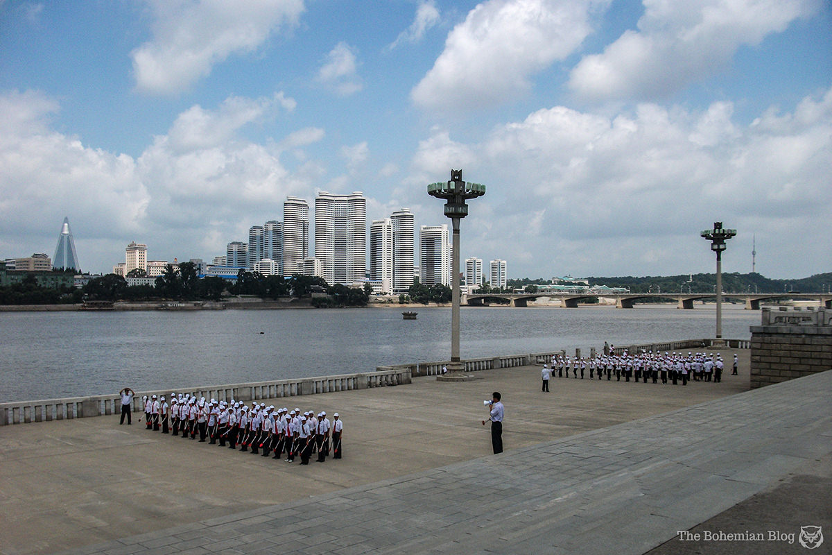 Parade rehearsals on the bank of the Taedong River, Pyongyang.