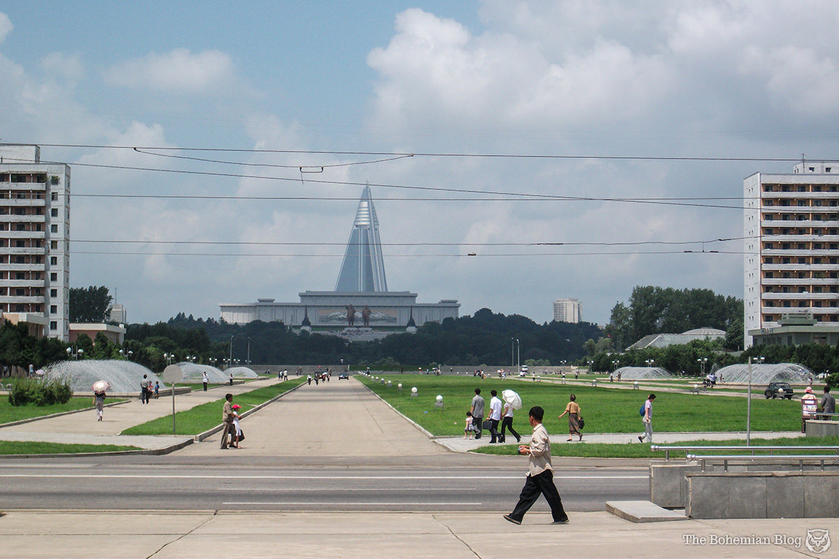 Mansudae and the Ryugyong Hotel.