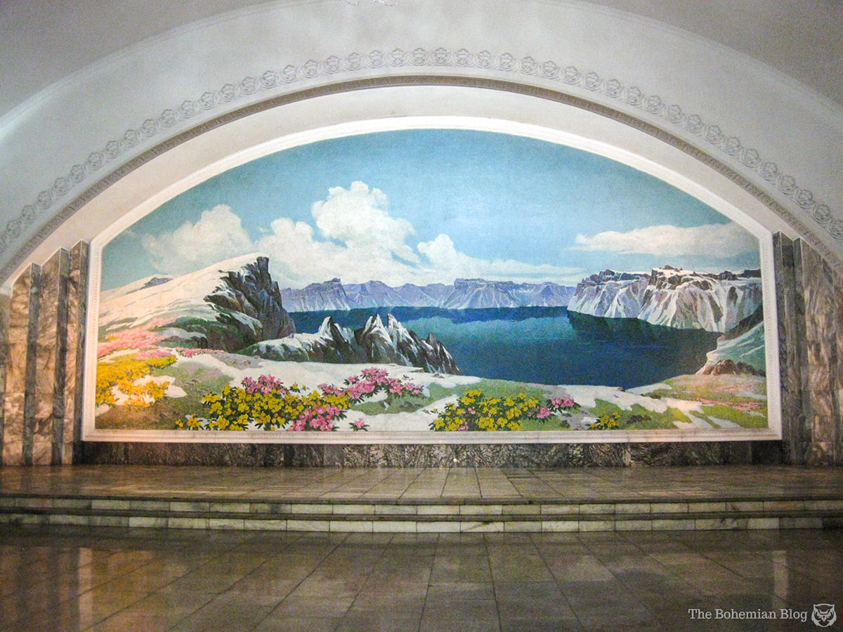 Featured in a mural on Pyongyang Metro, this is Mount Paektu: supposedly the birthplace of Kim Jong-il.