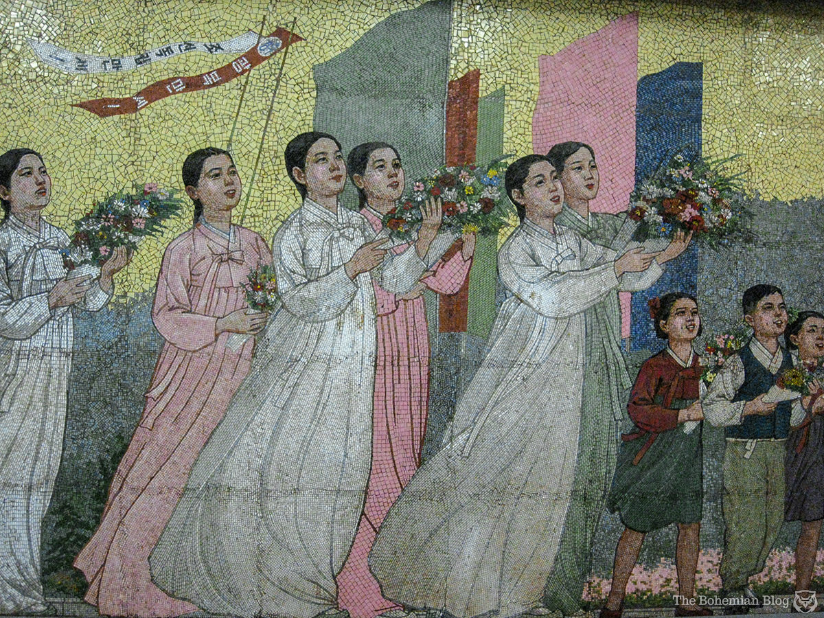 Cultural mosaics at a North Korean metro station.