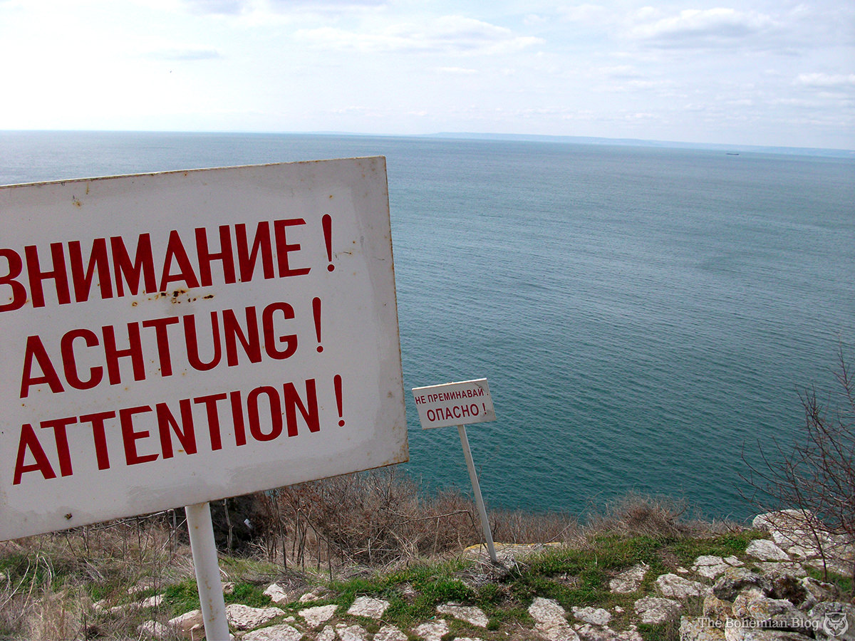 Warning signs along the cliff at Cape Kaliakra, Bulgaria.