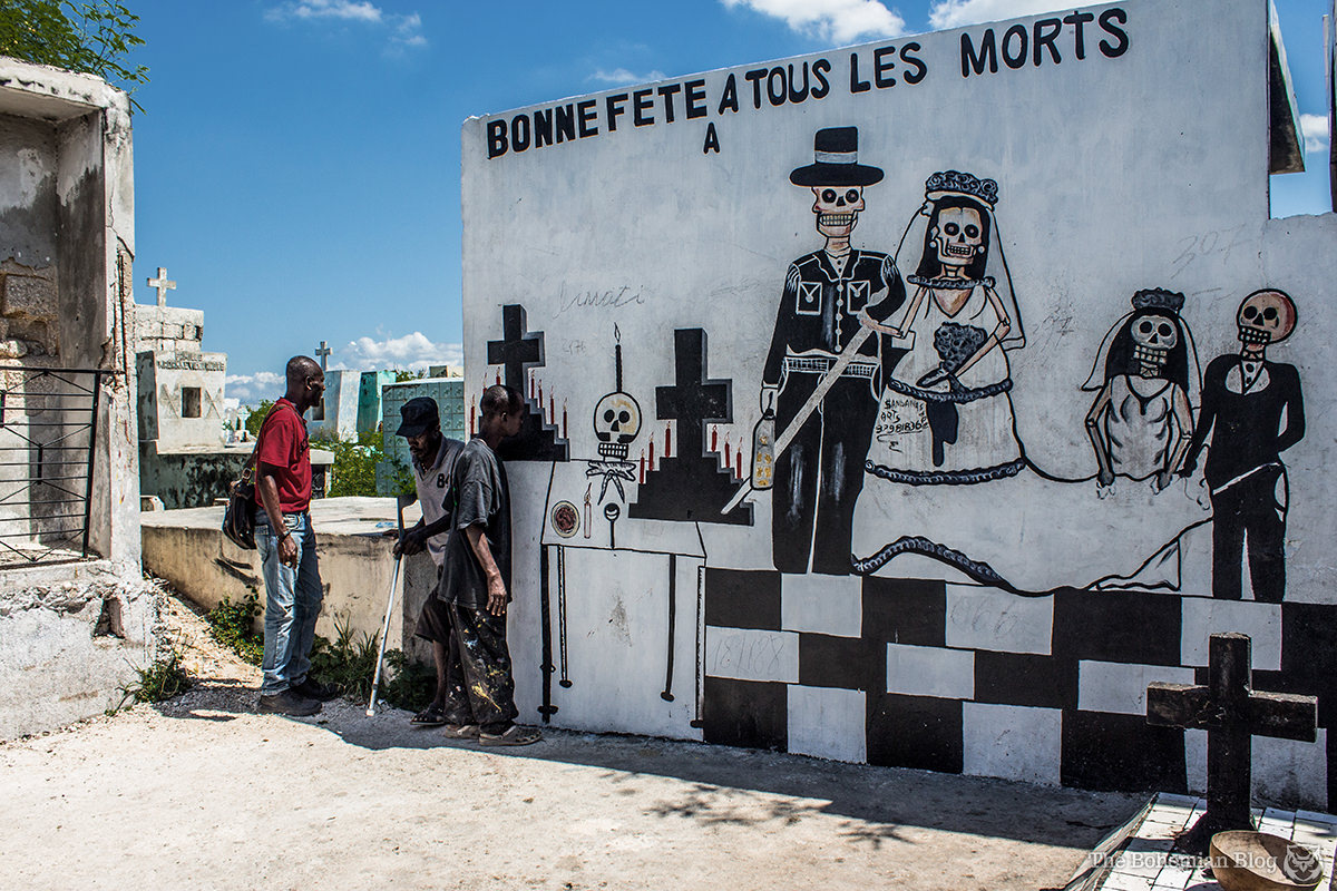 """Bonne fête à tous les morts."" Mural art at the Grand Cemetery of Port-au-Prince."