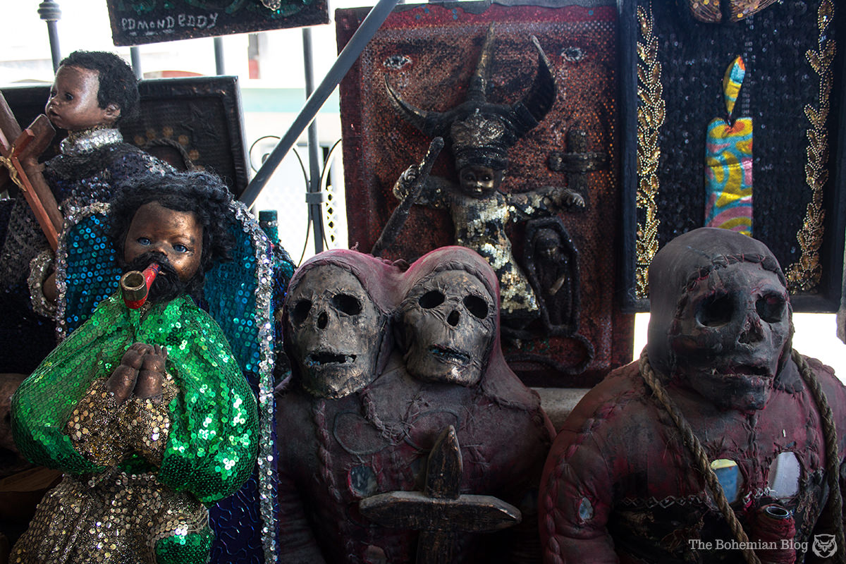 Haitian vodou trinkets on sale at the Marché en Fer.