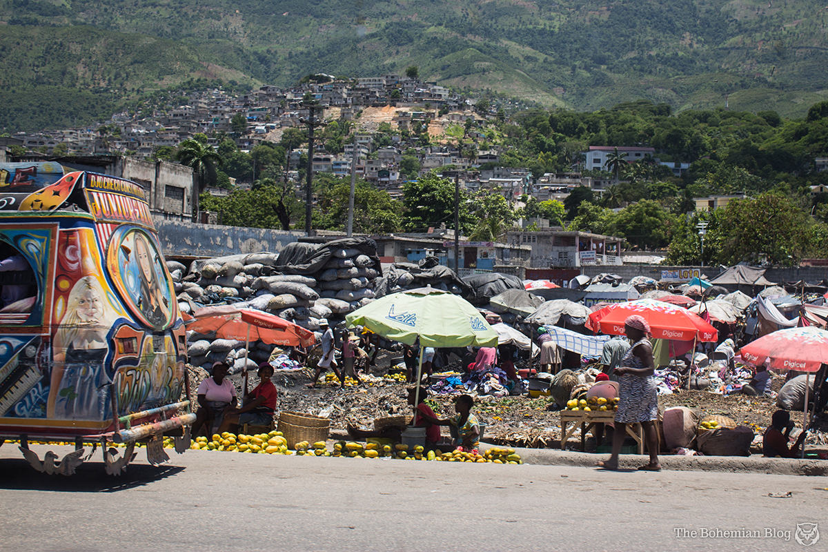 A typical roadside market in Port-au-Prince.