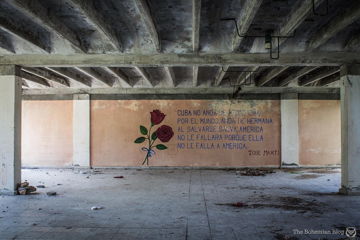 Poetry by José Martí appears on a wall in what might have been intended as a cafeteria.