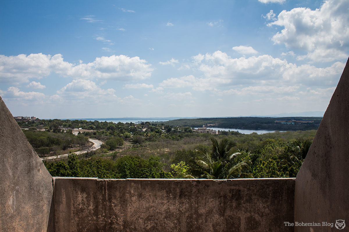 Looking east from Ciudad Nuclear, where a narrow strait connects the Caribbean to the inland Bay of Cienfuegos.