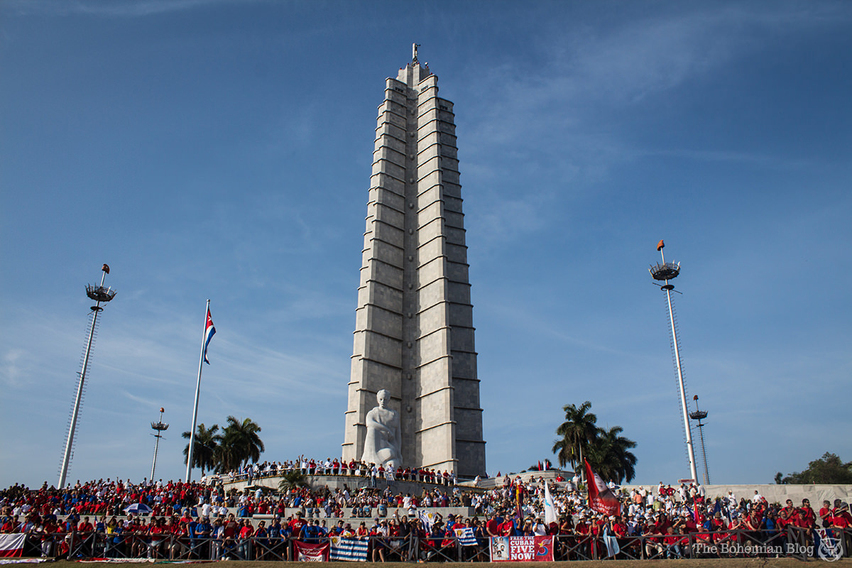 The José Martí Memorial in Havana, Cuba, during the May Workers' Day parade