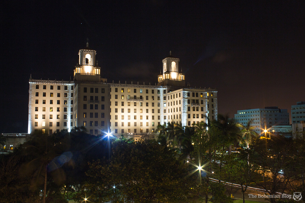 The Hotel Nacional de Cuba, pictured on one of my first nights in Havana.