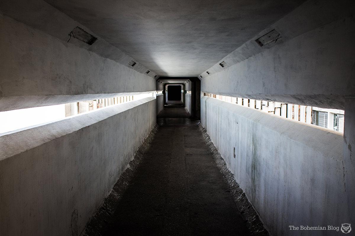More of those brutalist walkways inside Havana's Edificio Girón.