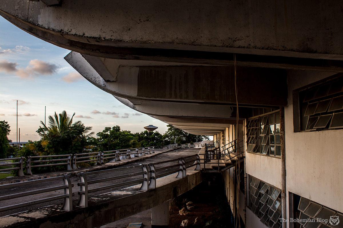 Admiring the brutalist architecture of Havana's 'Pan American Stadium.'