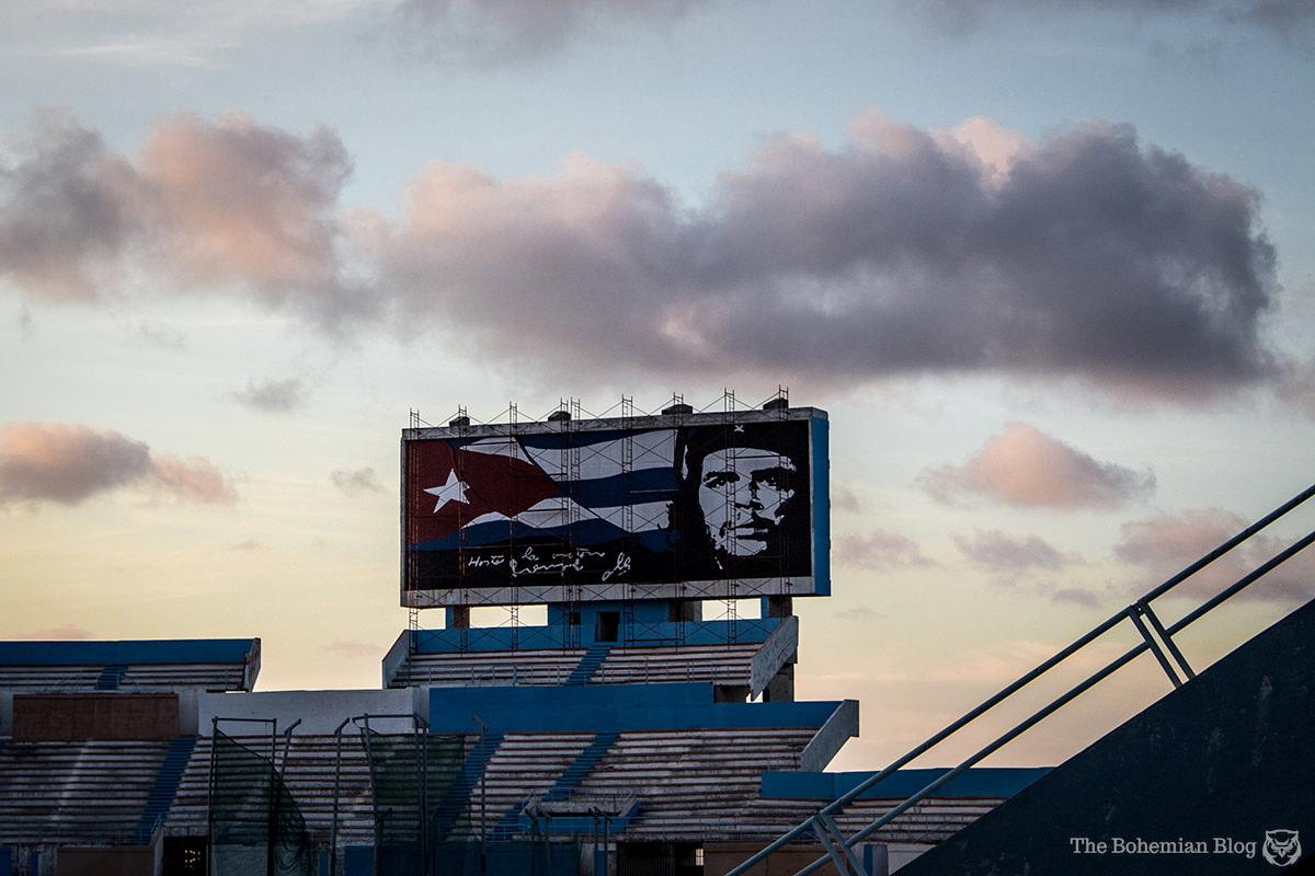 Che Guevara billboard at the Estadio Panamericano – Havana, Cuba.