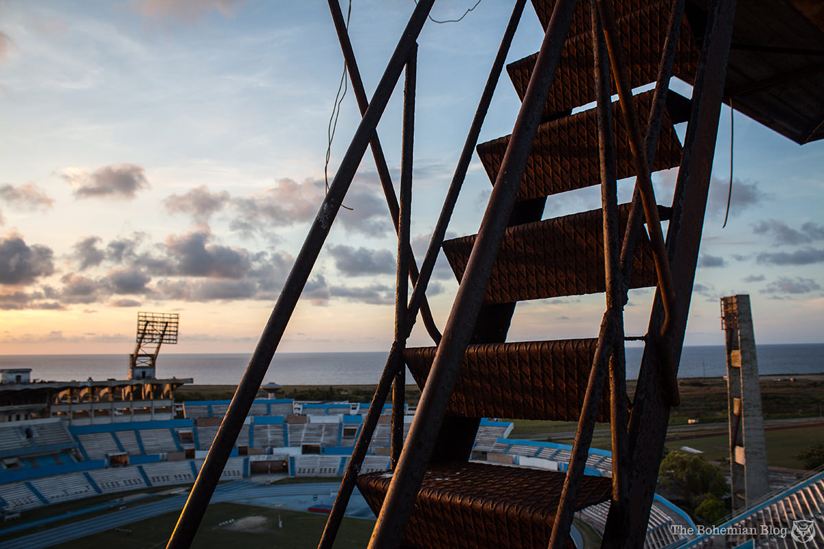 Hitting the final staircase – for a beautiful, terrifying view across the Caribbean.