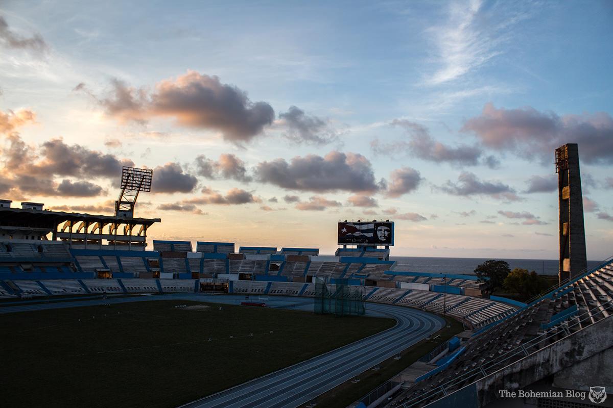Havana's Estadio Panamericano, glowing in the light of a Cuban sunset.
