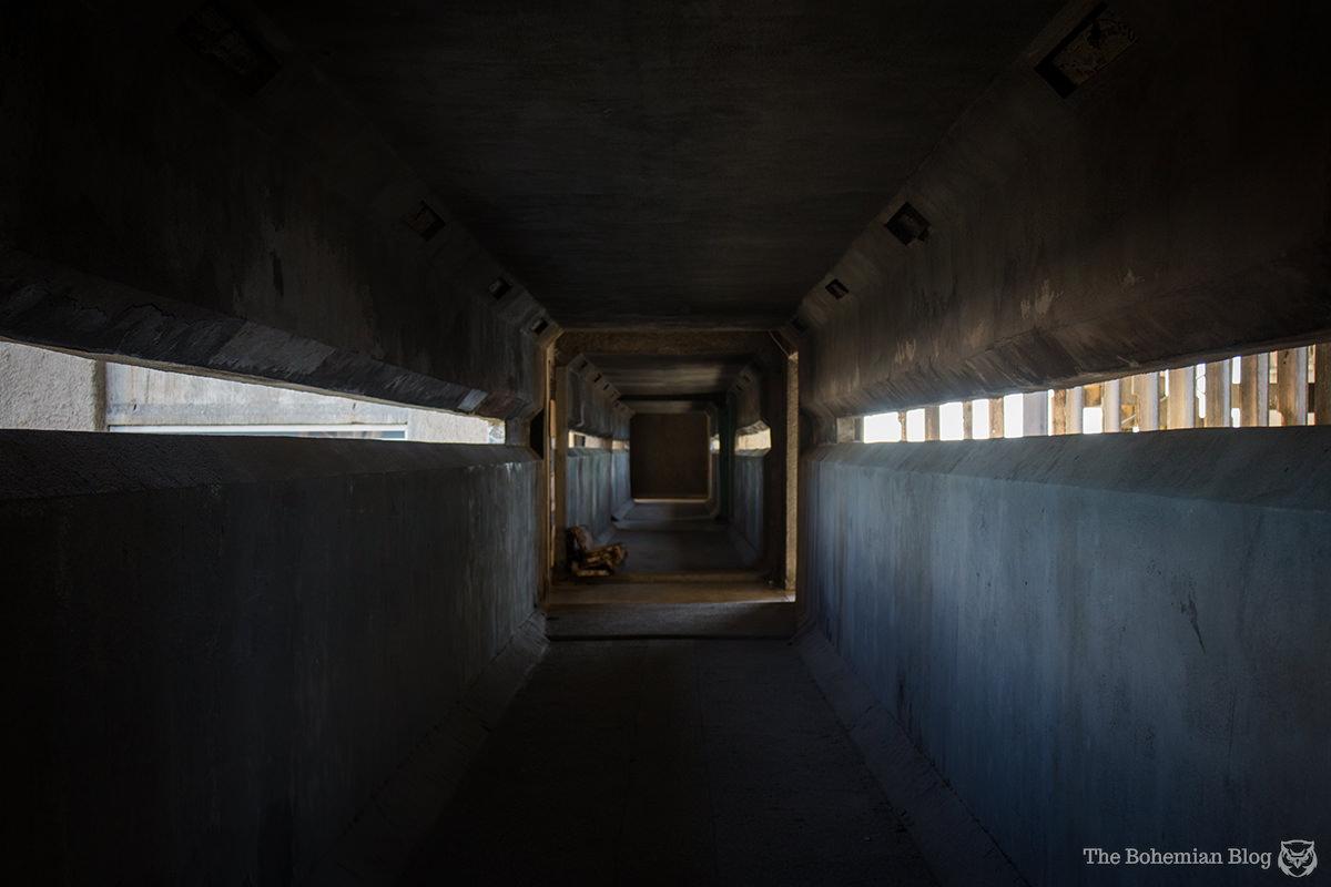 Inside the connecting corridors of the Edificio Girón in Havana.
