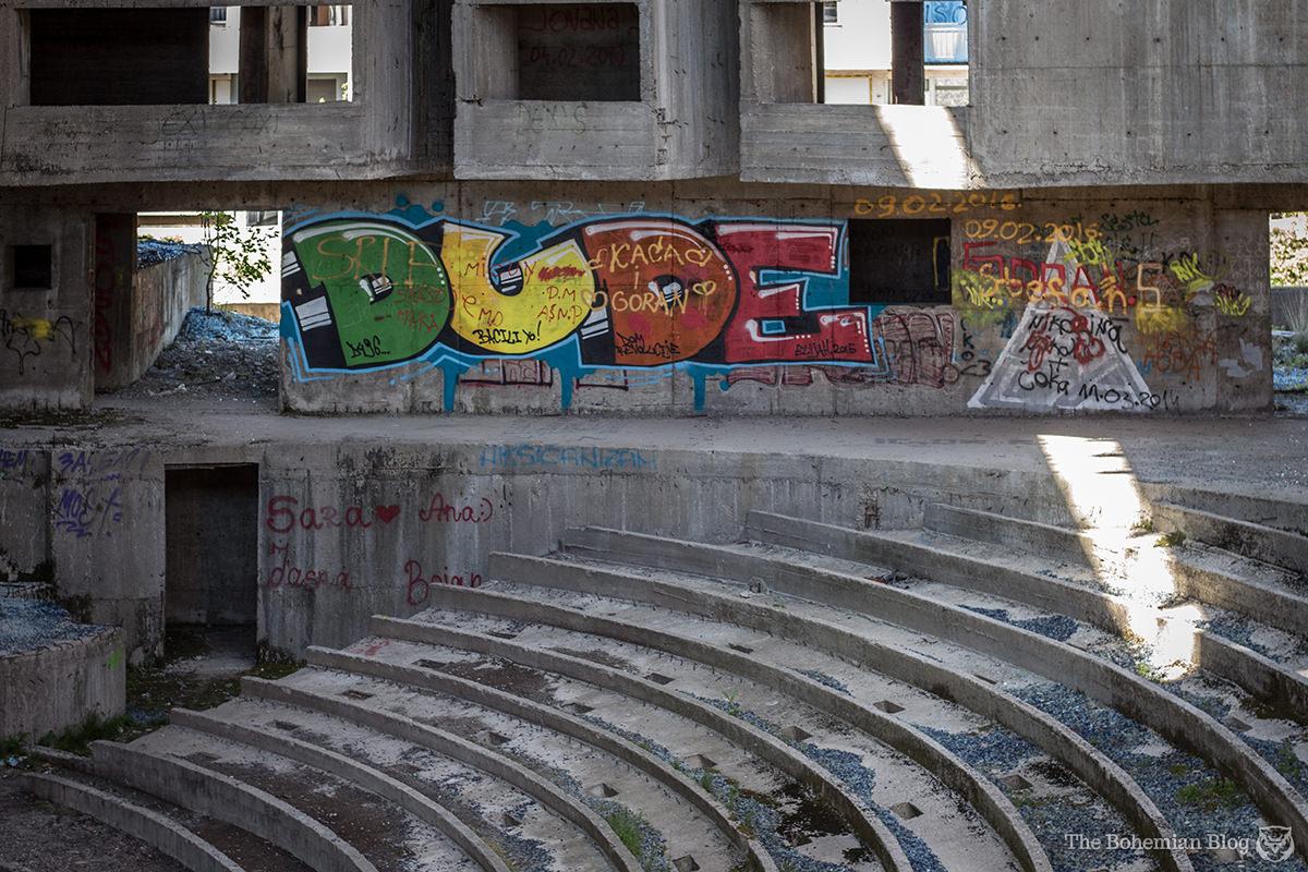 Graffiti on the theatre walls. Nikšić, Montenegro.