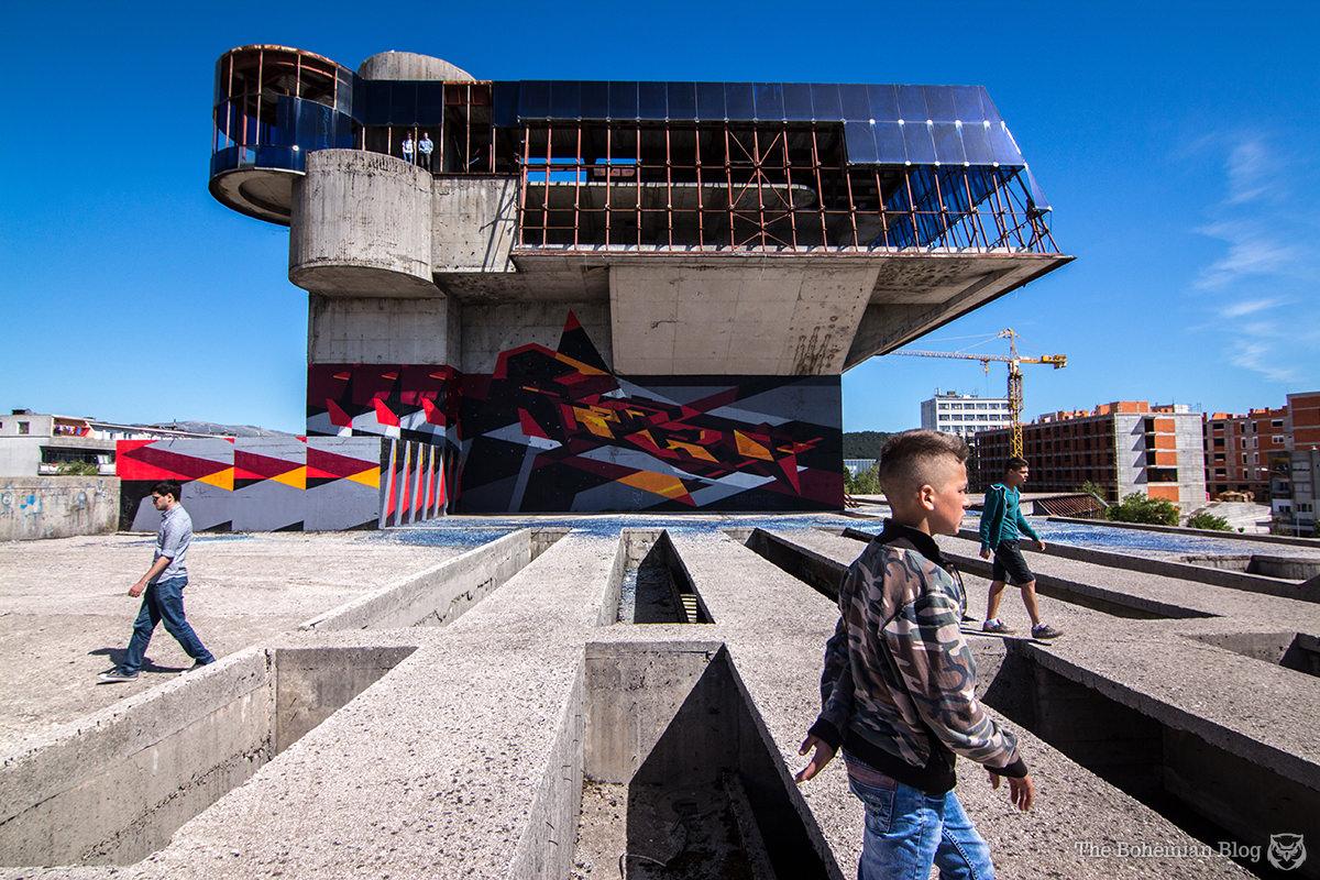 Local children dominate the building's rooftop spaces. Nikšić, Montenegro.