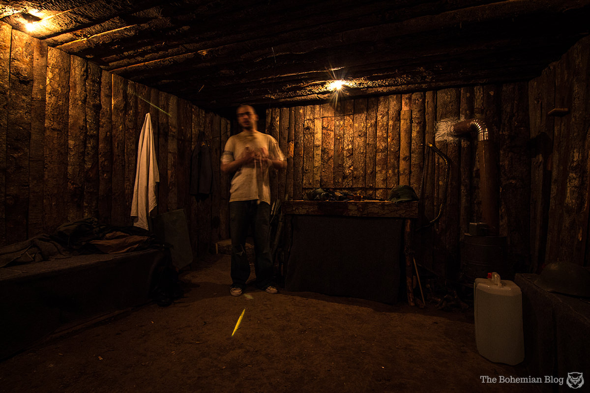 Above & Below: Our host, 01, gives a presentation in the War Hostel's replica bunker.