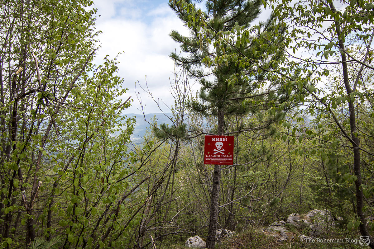 One of the many warning signs scattered about this former minefield above Sarajevo, Bosnia.