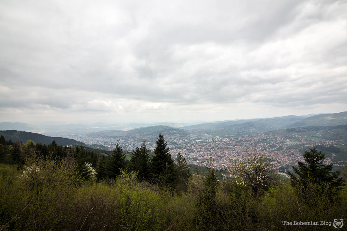 Looking down on Sarajevo from a former artillery position on Mount Trebević.
