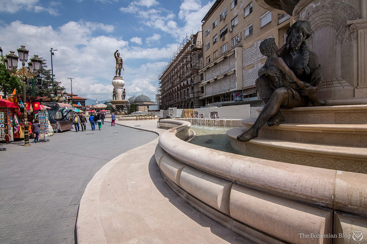 'Philip II of Macedon Square' cost €6.2 million to build. It features 4 fountains, with Philip himself – the Warrior – in the distance.
