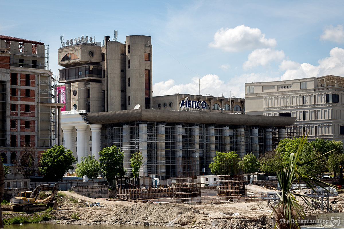 Skopje Administrative Court– and beyond that the Macedonian Post building, designed by architect Kenzō Tange. Below: Crimes against concrete.