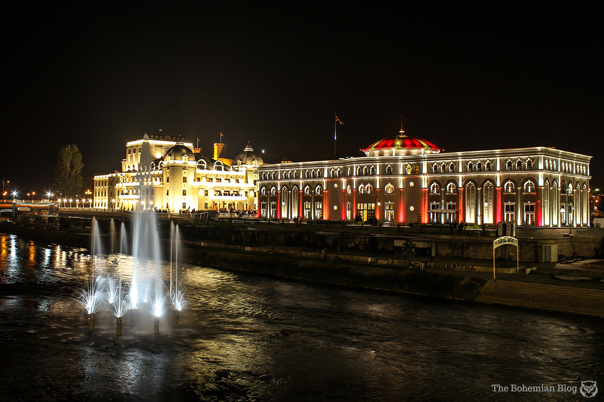 The Macedonian National Theatre and the Museum of the Macedonian Struggle, seen from the far bank of the River Vardar.