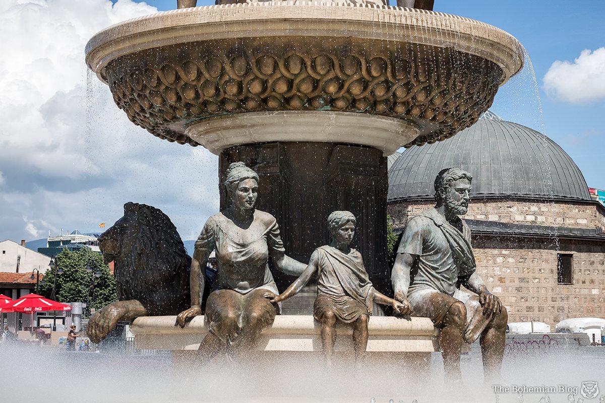 Detail of 'The Warrior' fountain, Skopje. Below: Glue-fixed panels beginning to come un-stuck.