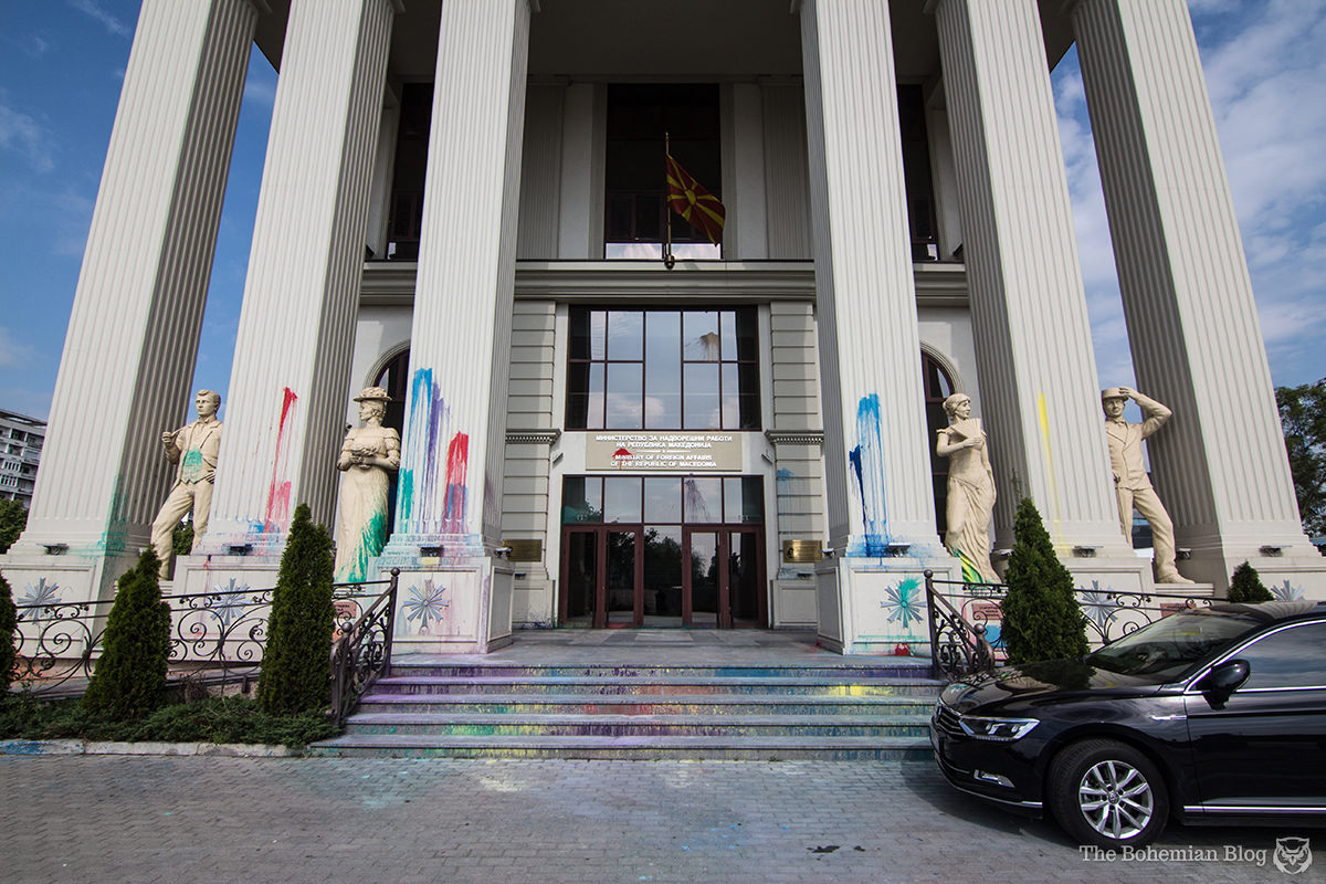 'The Ministry of Foreign Affairs of the Republic of Macedonia' (€19.9 million), freshly decorated by protesters.