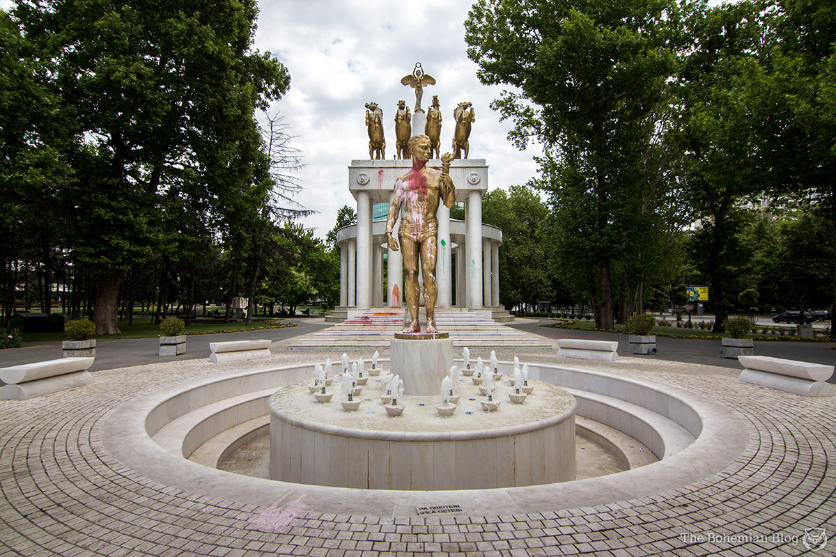 The 'Monument to Fallen Heroes of Macedonia' (€2.3 million), recently visited by the Colourful Revolution.