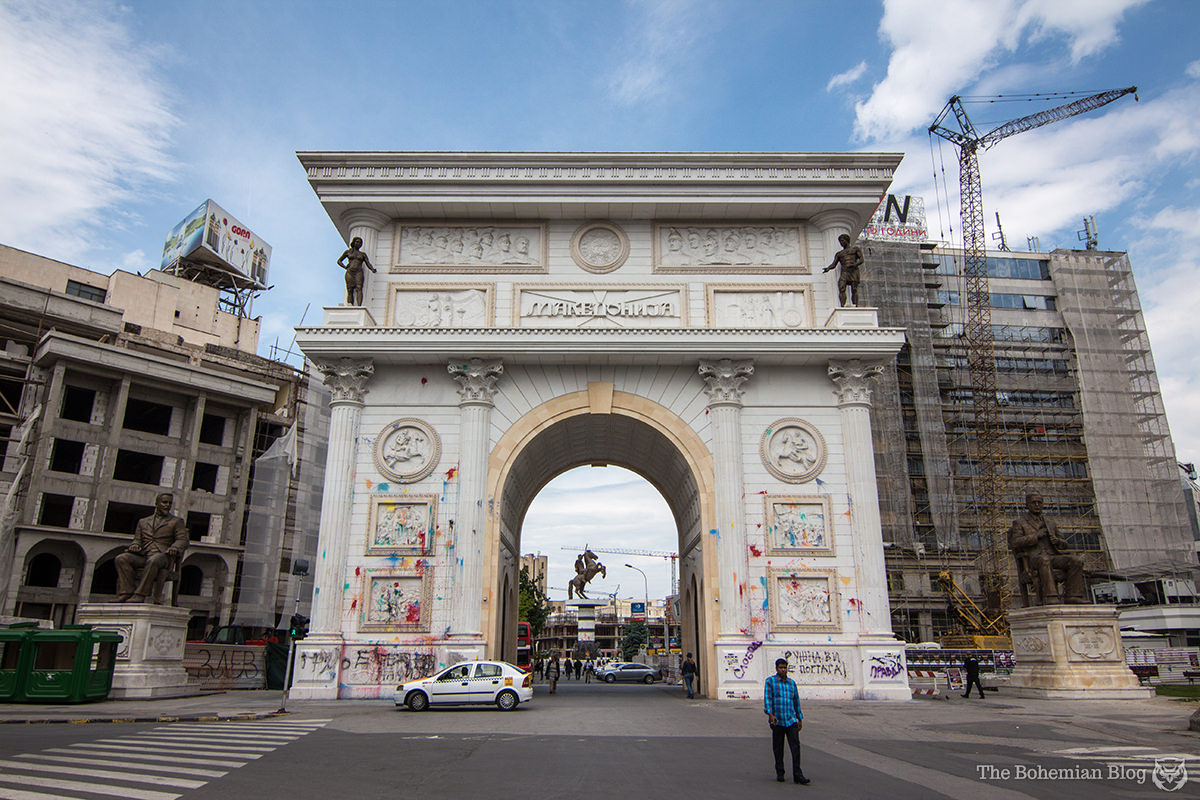 The 'Porta Macedonia,' Skopje's Triumphal Arch, pictured here the morning after the night before (Price: €6.2 million).