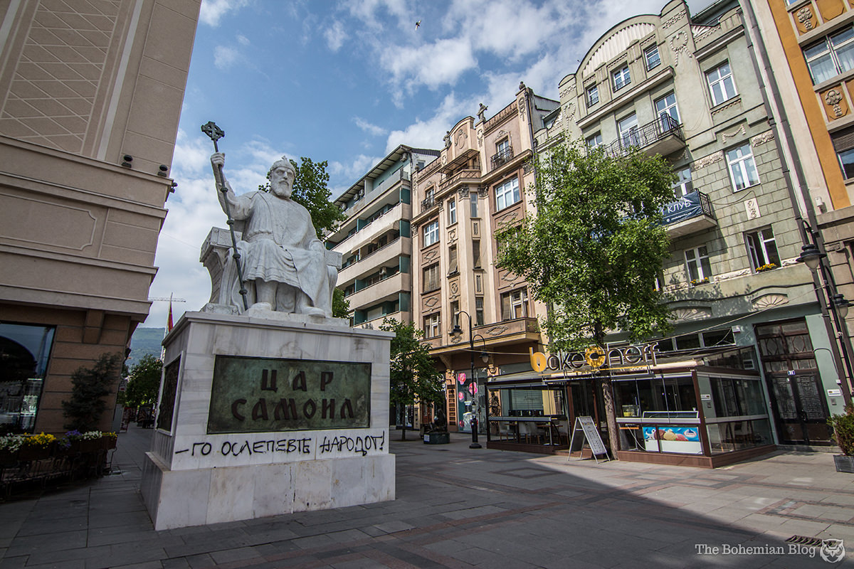 "Monument to Tsar Samoil (Price: €1.4 million). The graffiti reads, ""You blinded the people."""