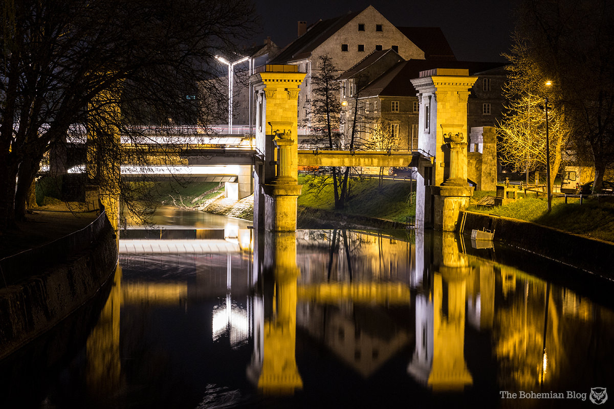 The Ljubljanica Sluice Gate –footbridge, triumphal arch, and now preserved as an iconic landmark of Ljubljana, Slovenia.