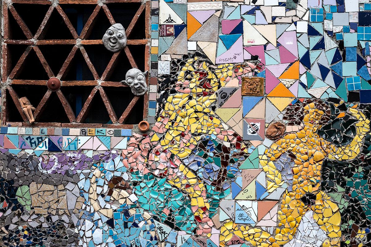 More salacious mosaics on the walls of Metelkova Mesto.