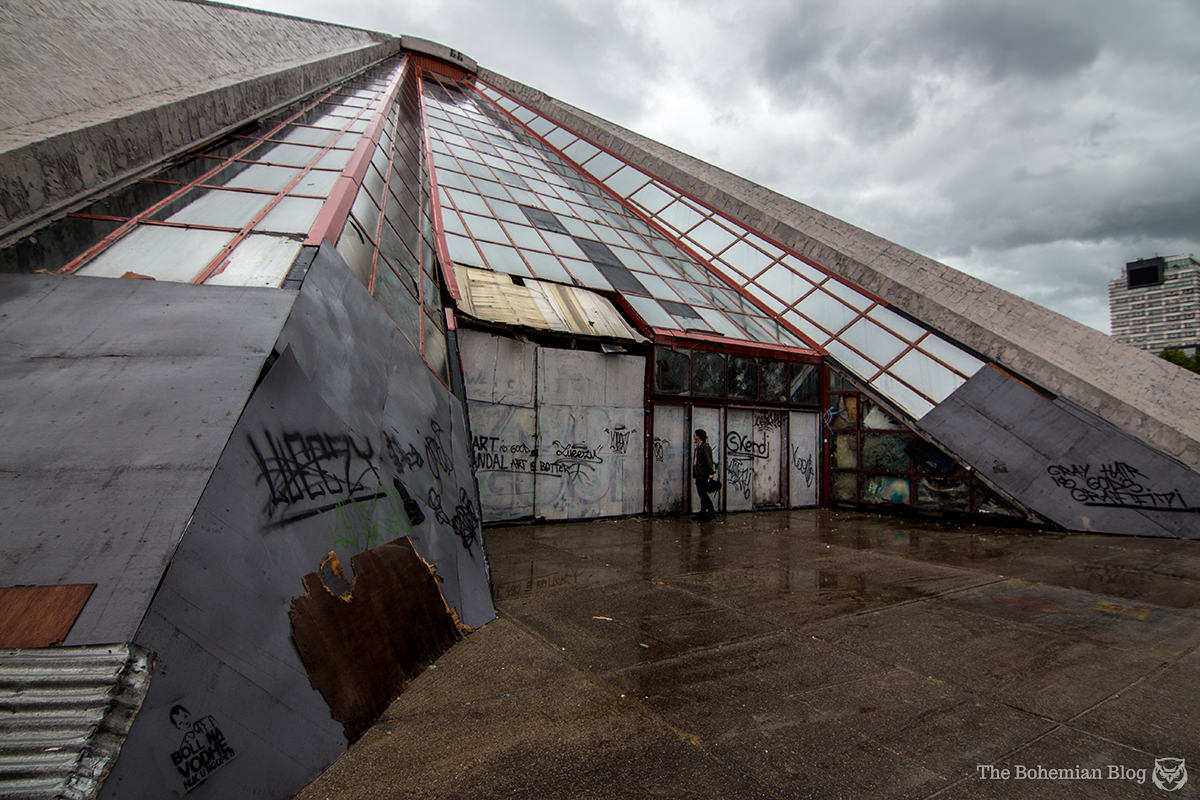 The Pyramid's main entrance is securely sealed, with metal panels welded over the glass windows.