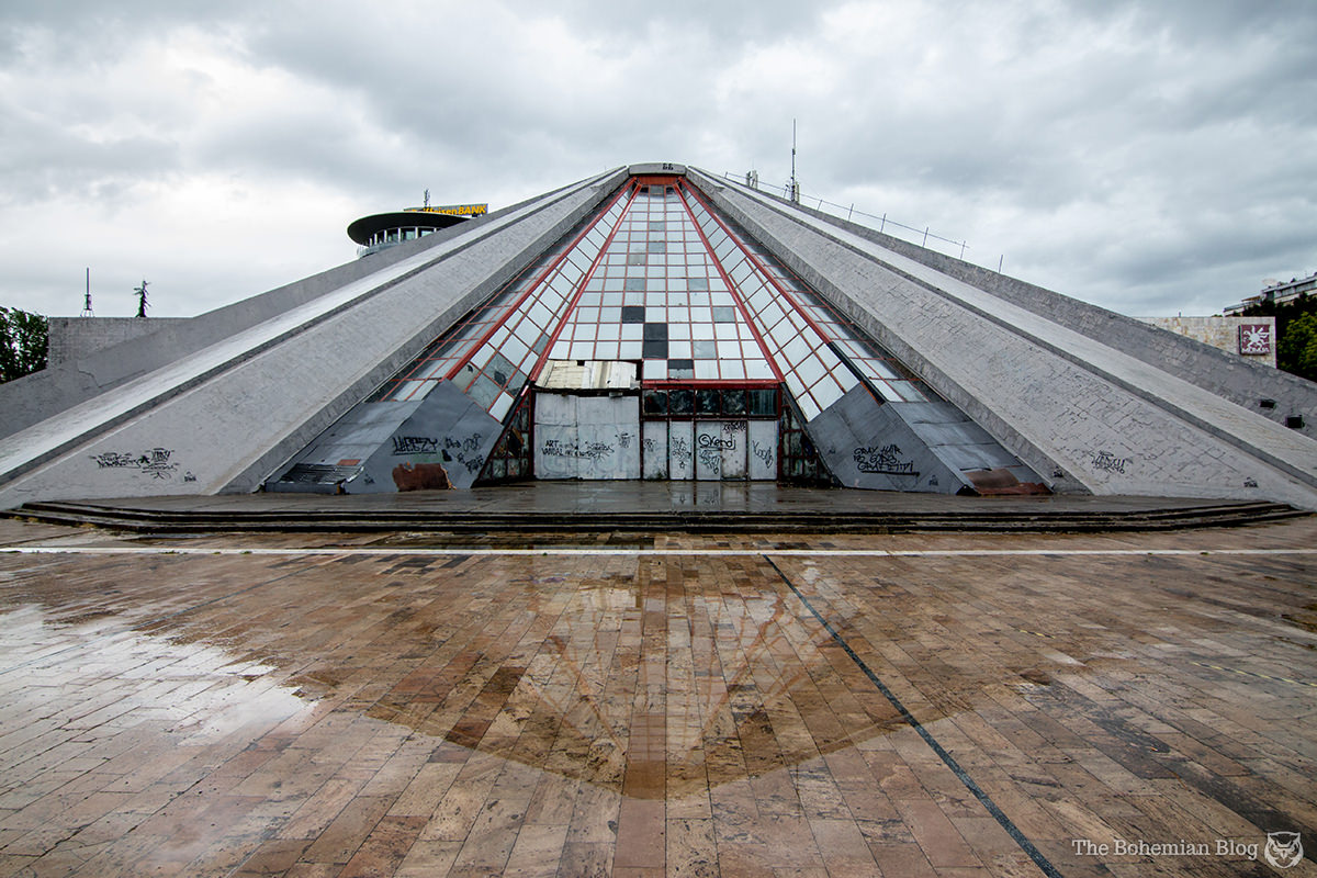 The Pyramid of Tirana, Albania: pictured here in a heavy April rainstorm.