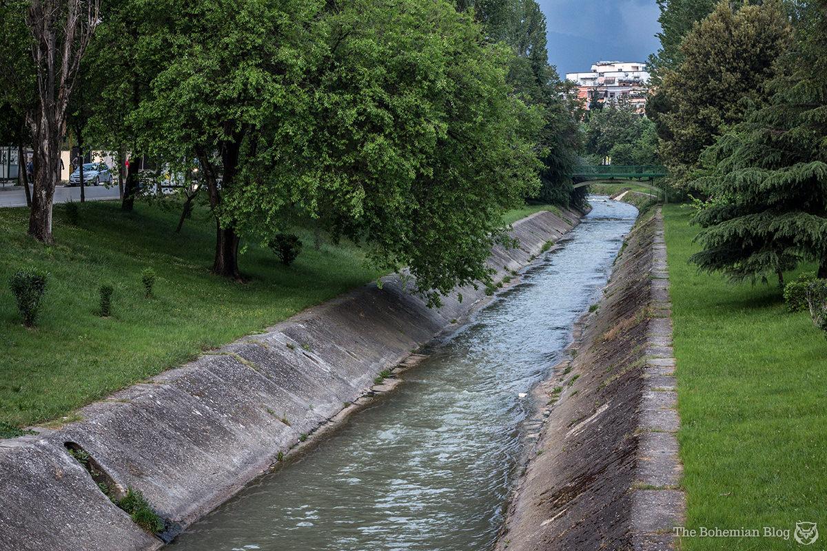 The Lana River flows through the centre of Tirana, Albania.