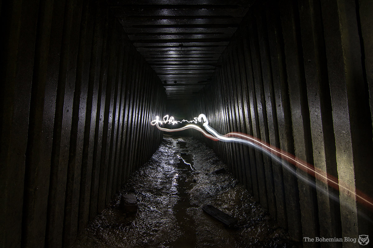 Playing with lights in one of the 'Kit Kat' segments of Kyiv's Askoldova Drain.