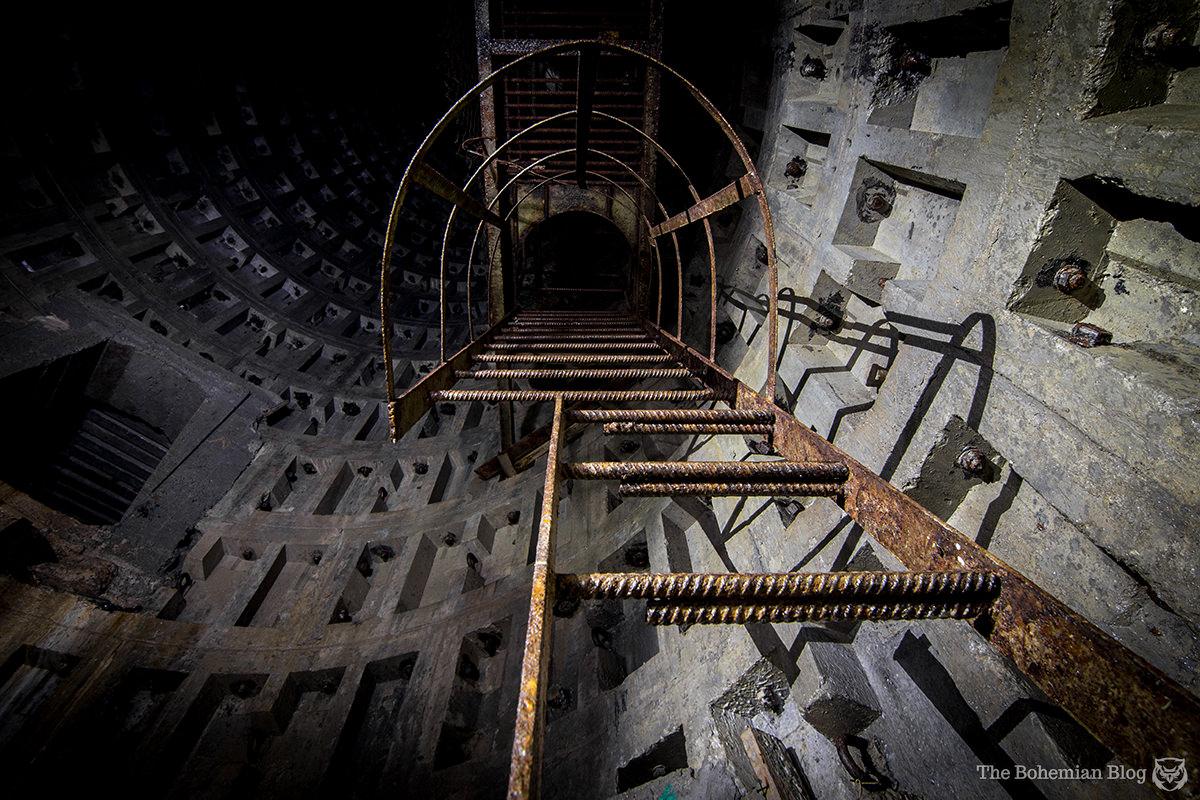 Climbing the ladder up a 30-metre subterranean shaft.
