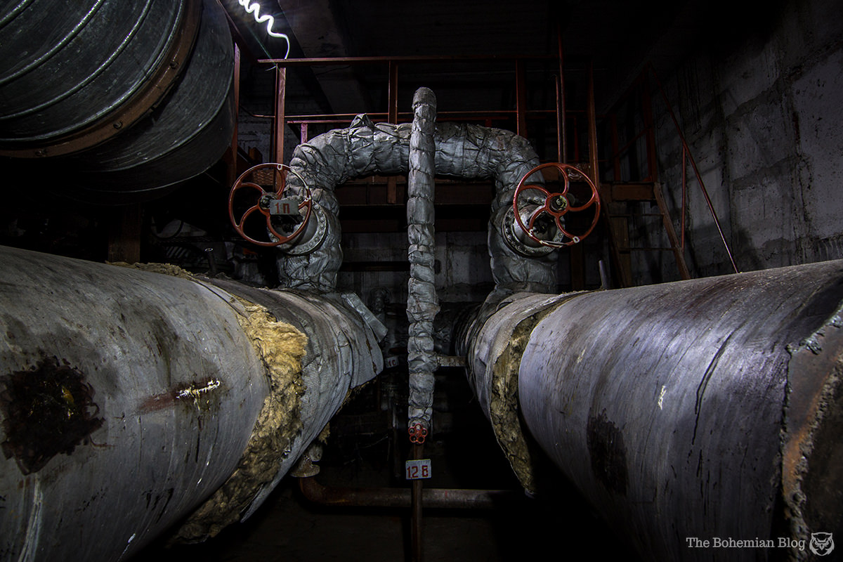 A sweltering boiler room marks the entrance to a tunnel beneath the River Dnieper in Kyiv, Ukraine.