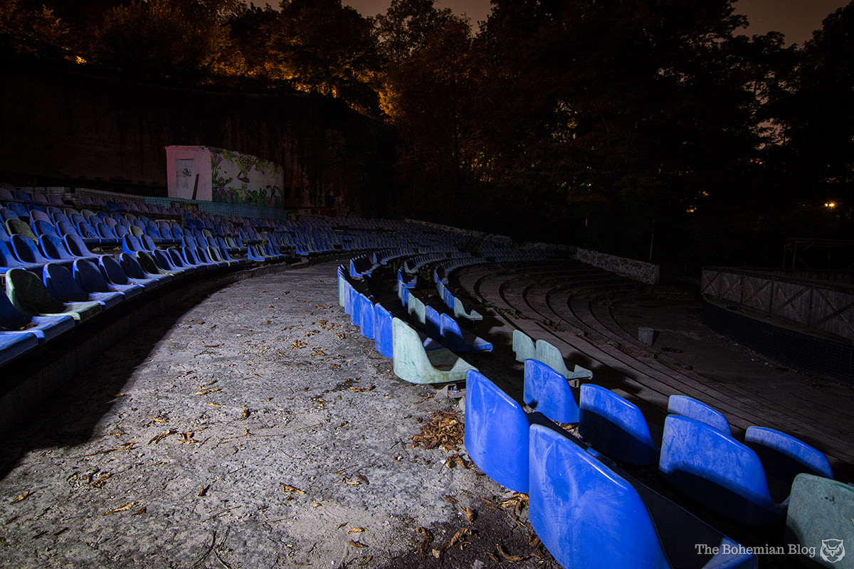 Exploring the Green Theatre at night. Kyiv, Ukraine.