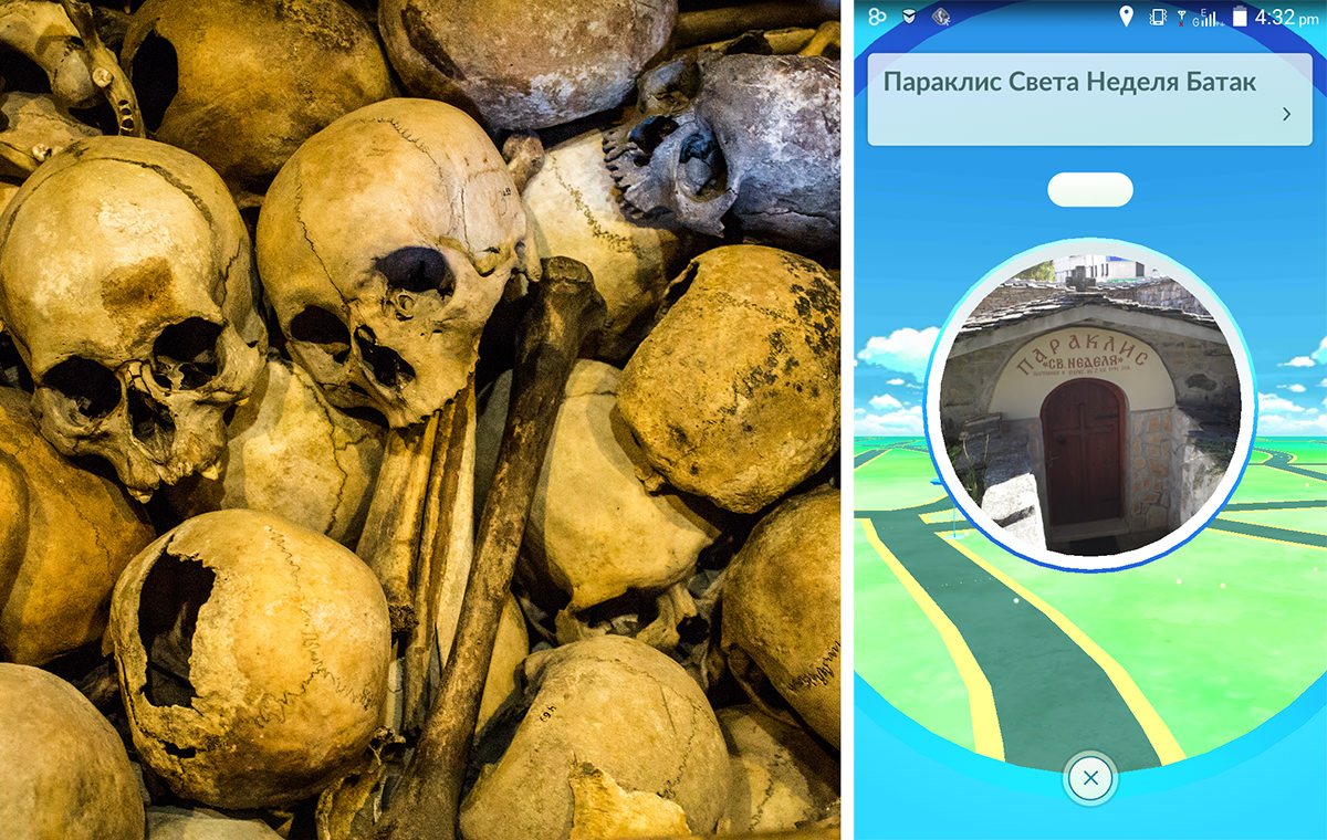 1: The bones of massacre victims on display in Batak, Bulgaria. 2: The Church of St. Nedelya, where it happened, is now a pokéstop.