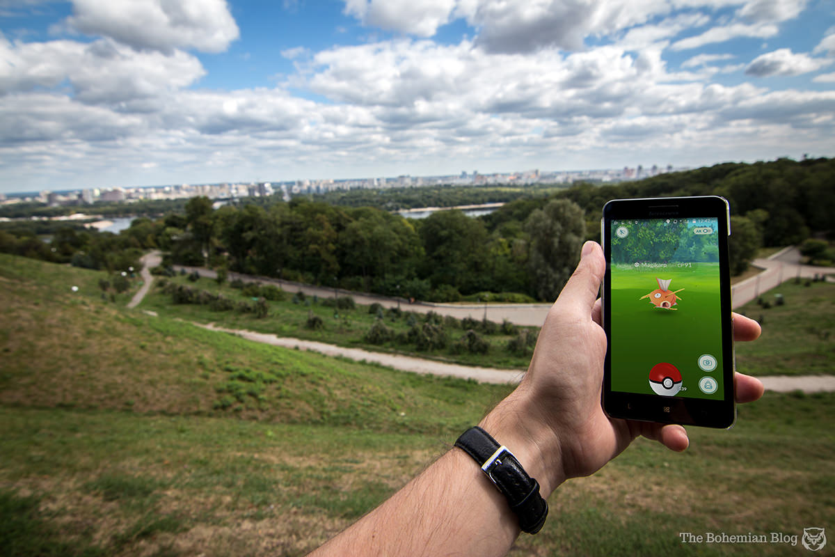 Catching Magikarp on the banks of the Dnieper River in Kyiv.