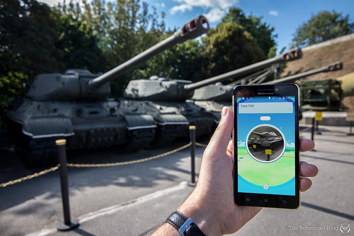 A pokéstop pinned to a Soviet T-10 tank, in Kyiv, Ukraine.