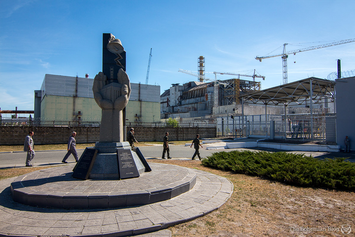 Workers arriving at Reactor 4 of the Chernobyl Nuclear Power Plant, Ukraine.