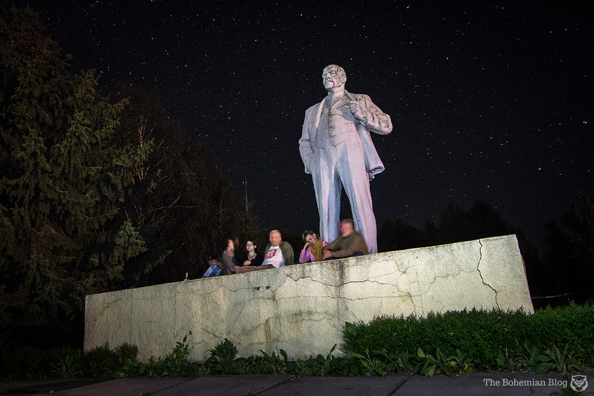 Unwinding at the end of a long day in Chernobyl, with midnight beers at the Lenin monument.