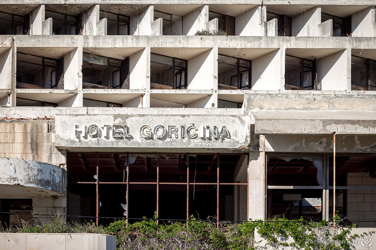 Main entrance to the former Goričina Hotel. Below L: Goričina seen from across the bay. Below R: Exploring the hotel grounds.