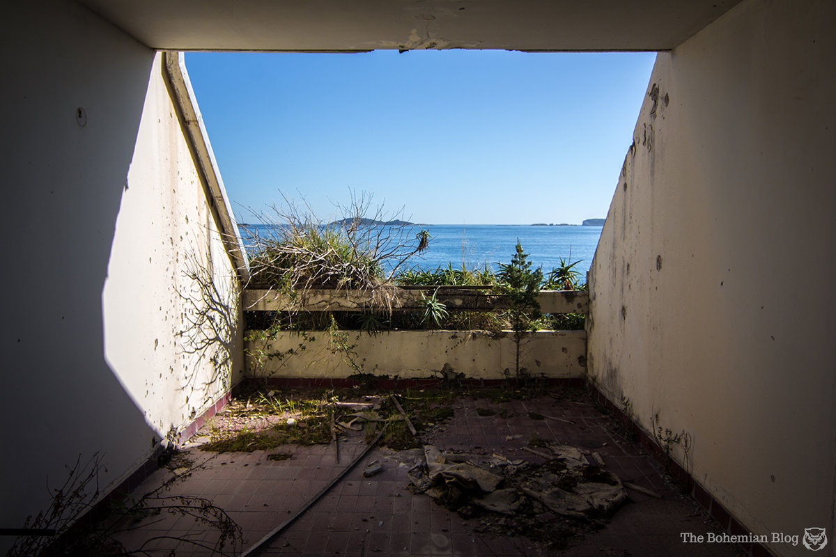 Room with a view: Looking out of the abandoned Hotel Goričina.