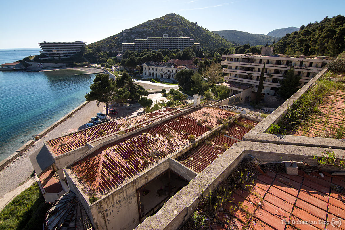 The abandoned Kupari resort, Croatia. Clockwise from top left: The Pelegrin, the Kupari Hotel, the Grand Hotel, Hotel Goričina.
