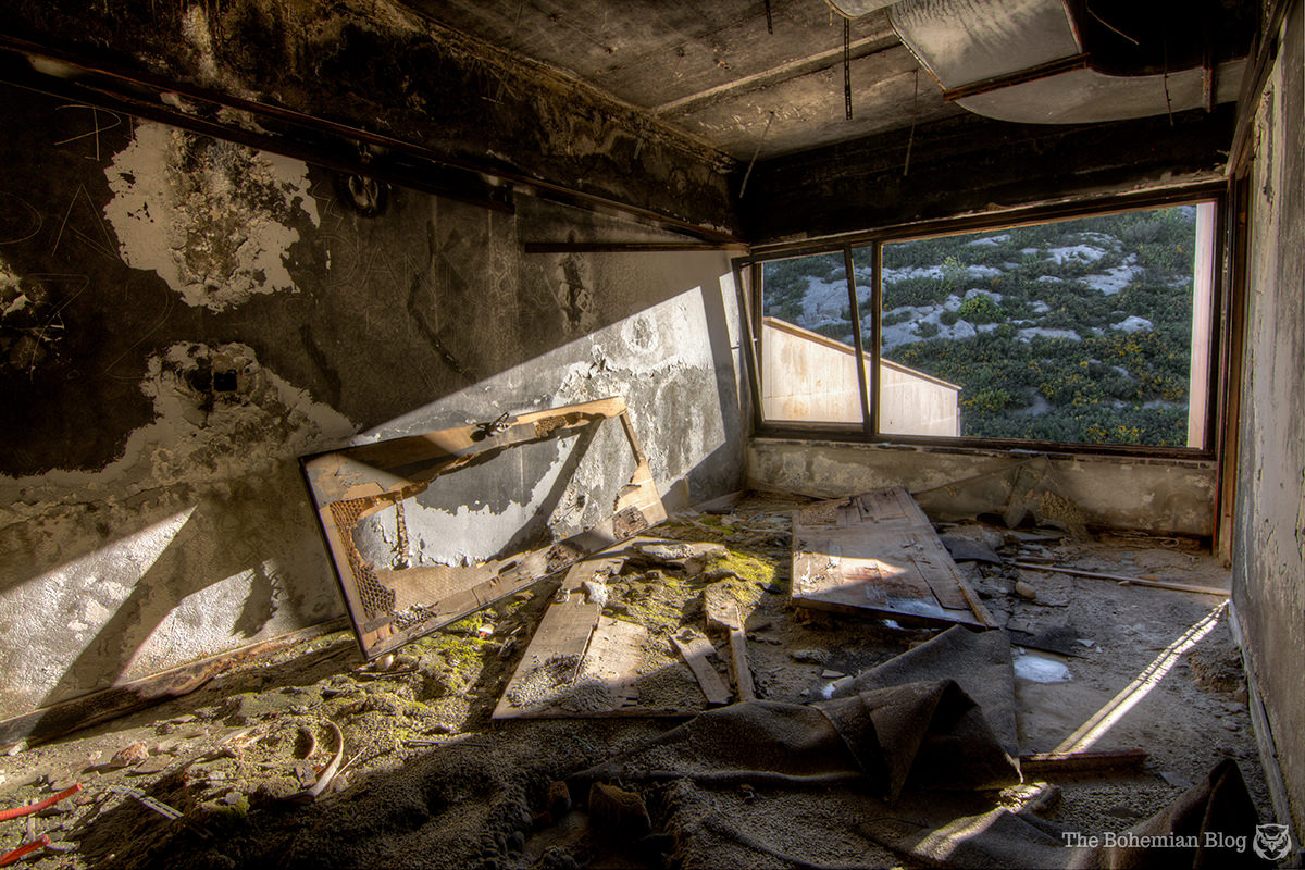 The remains of a guest room on the rear side of Hotel Kupari.