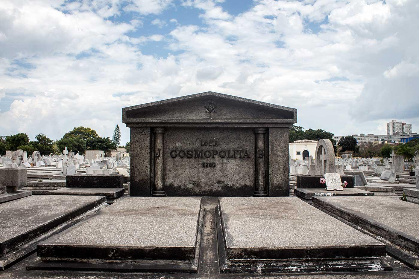 Memorial plot for 'Logia Cosmopolita': Necrópolis Cristóbal Colón, Havana, Cuba.
